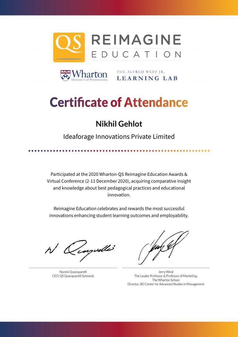 Wharton-QS Reimagine Education Awards & Conference Attendance Certificate